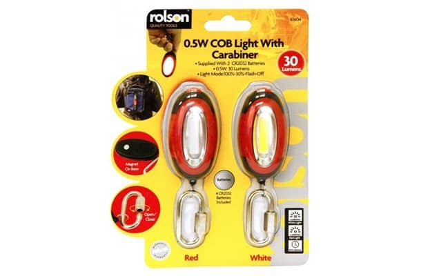 rolson 0.5w cob light with carabiner
