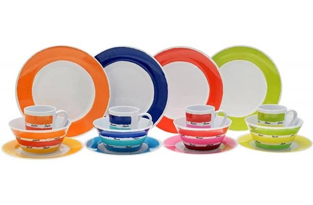 colour works colourful 16pc melamine dinner set