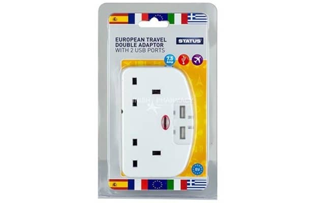 Status European Double Travel Adaptor with 2 USB