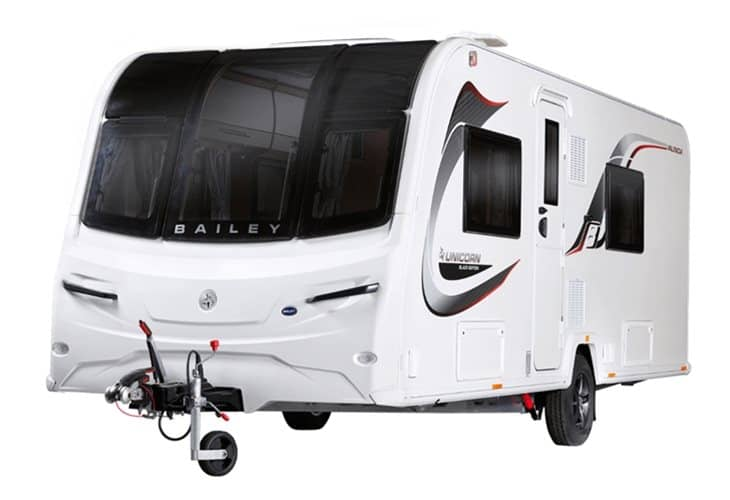 Front view of the Bailey 2020 Unicorn IV Black Edition Valencia