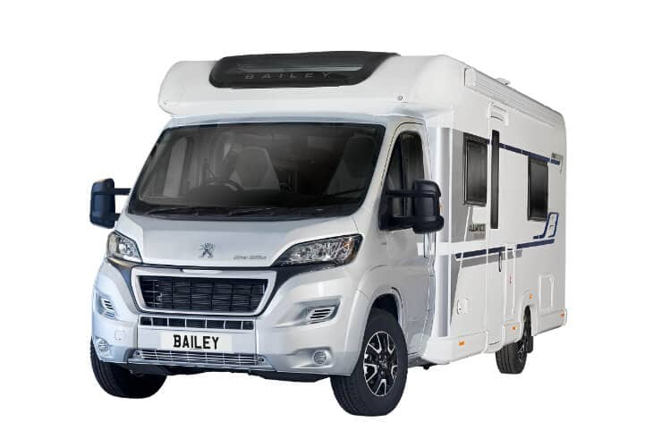 Front view of the Bailey 2020 Alliance 76-2 Silver Edition