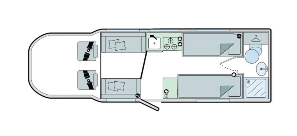Floorplan of the Bailey Alliance 76-2T Silver Edition 2021